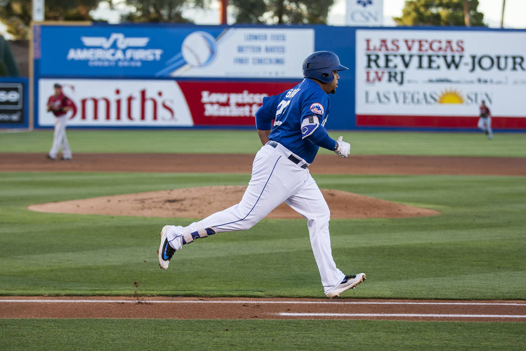 Dominic Smith runs toward first base during Las Vegas 51s game against the Sacramento River Cats at Cashman Field on Friday, June 16, 2017. The River Cats won 6-4.  Patrick Connolly Las Vegas Revi ...