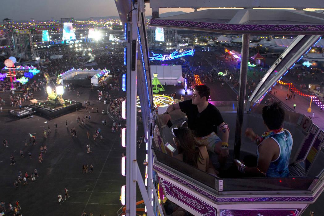 Attendees ride the ferris wheel on the second night of Electric Daisy Carnival at Las Vegas Motor Speedway on Saturday, June 17, 2017 in Las Vegas. Bridget Bennett Las Vegas Review-Journal @bridge ...