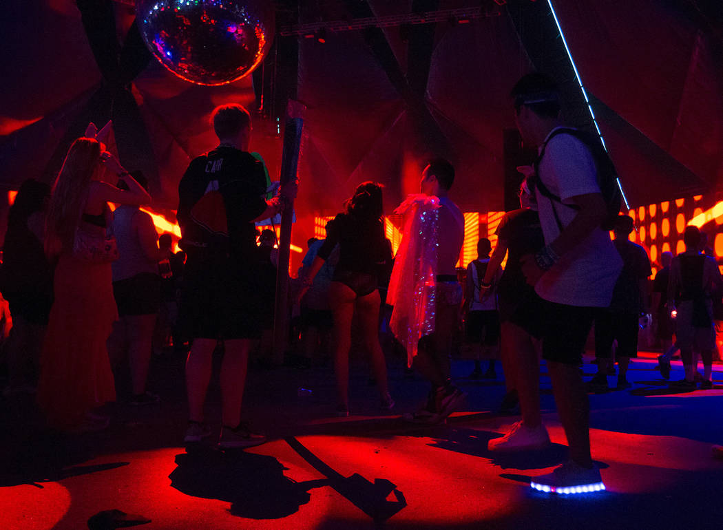Andres Ortuno from Los Angles dances during Nathan Barato's set at Neon Garden  on the second night of Electric Daisy Carnival at Las Vegas Motor Speedway on Saturday, June 17, 2017 in Las Vegas.  ...