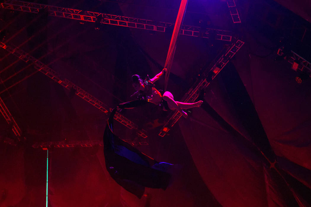 A costumed performer performs during Nathan Barato's set at Neon Garden  on the second night of Electric Daisy Carnival at Las Vegas Motor Speedway on Saturday, June 17, 2017 in Las Vegas. Bridget ...