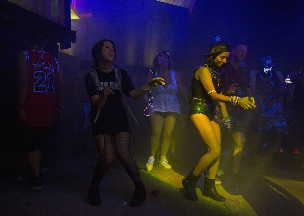 Attendees dance during Angelz's set at Upside-down House on the second night of Electric Daisy Carnival at Las Vegas Motor Speedway on Sunday, June 18, 2017 in Las Vegas. Bridget Bennett Las Vegas ...