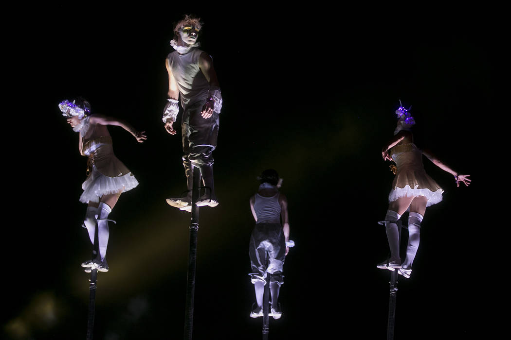 Costumed performers stand on stilts while they dance on the second night of Electric Daisy Carnival at Las Vegas Motor Speedway on Sunday, June 18, 2017 in Las Vegas. Bridget Bennett Las Vegas Rev ...