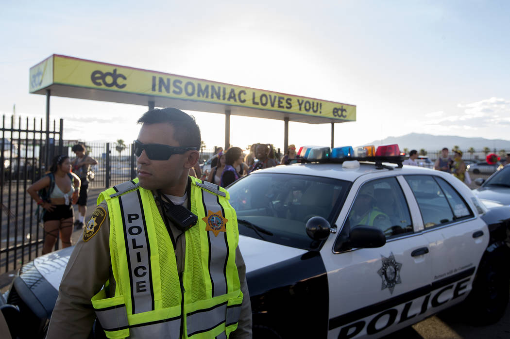 A police car exits the festival on the start last night of Electric Daisy Carnival at Las Vegas Motor Speedway on Sunday, June 18, 2017 in Las Vegas. Bridget Bennett Las Vegas Review-Journal @brid ...