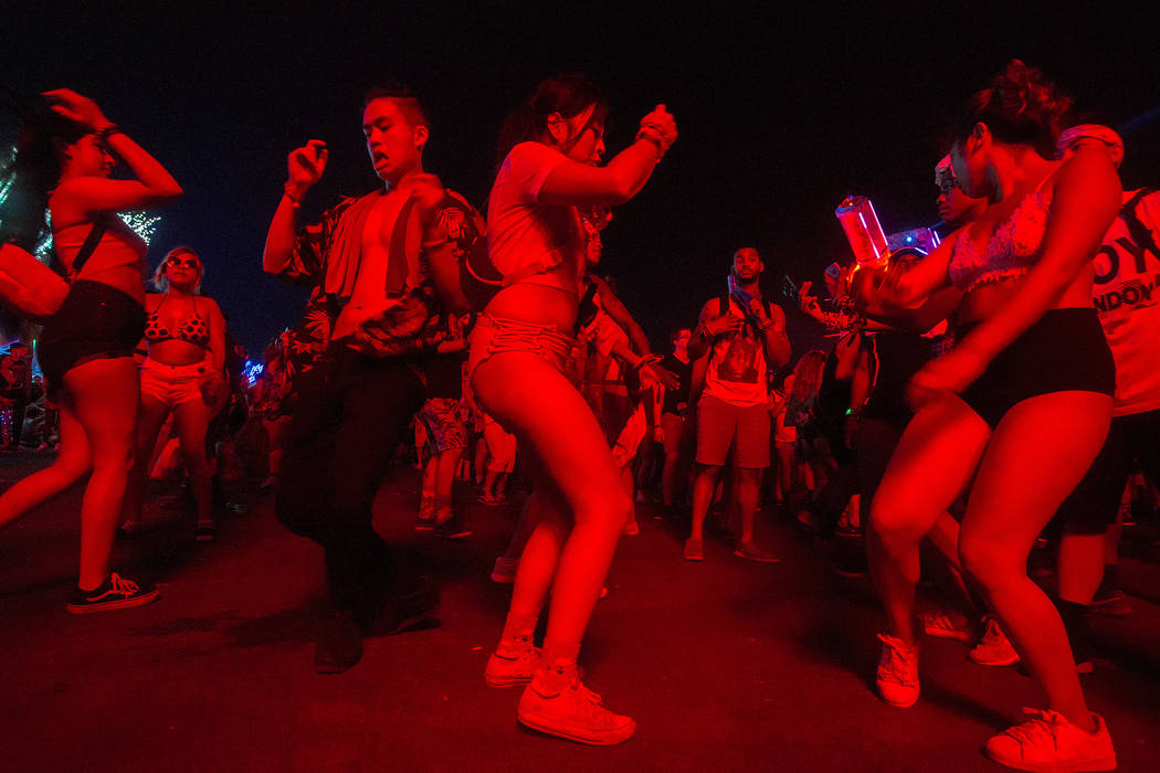 Attendees dance during Metro Boomin's set at  Basspod on the last night of Electric Daisy Carnival at Las Vegas Motor Speedway on Sunday, June 18, 2017 in Las Vegas. Special guests of the set incl ...
