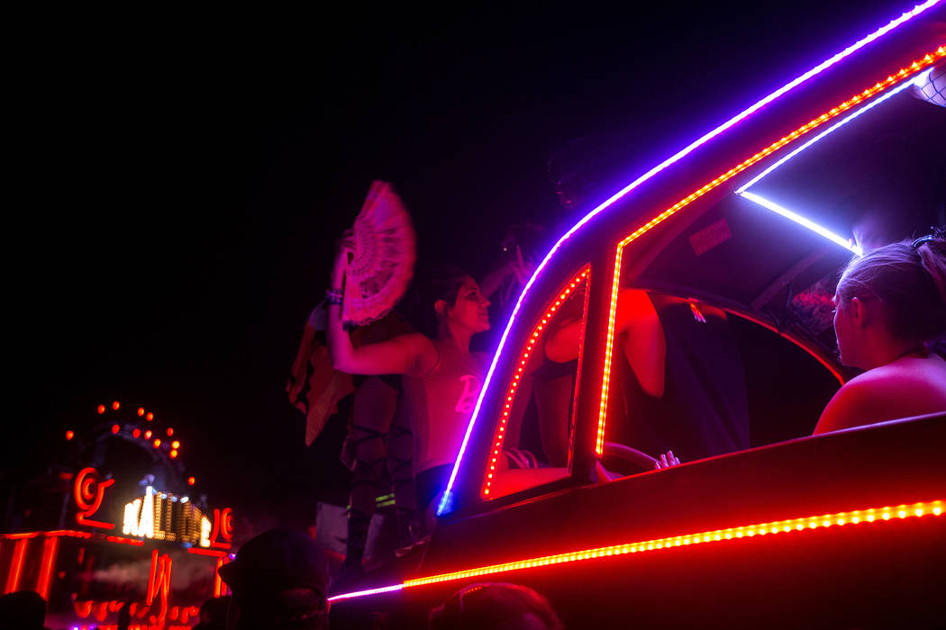 Fans gather for a surprise set by Kaskade at the Kalliope art car on the last night of Electric Daisy Carnival at Las Vegas Motor Speedway on Monday, June 19, 2017 in Las Vegas. Bridget Bennett La ...
