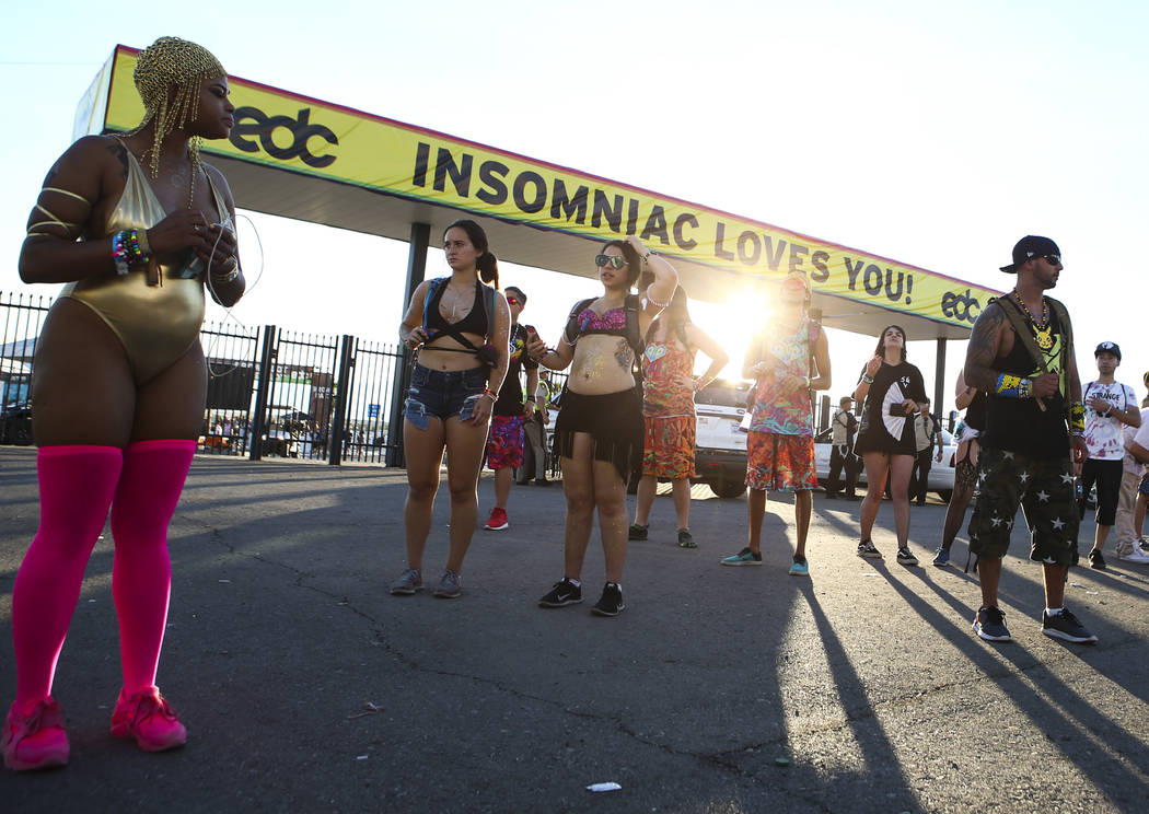 Fans wait near the entrance during the last day of the Electric Daisy Carnival at the Las Vegas Motor Speedway on Sunday, June 18, 2017. Chase Stevens Las Vegas Review-Journal @csstevensphoto