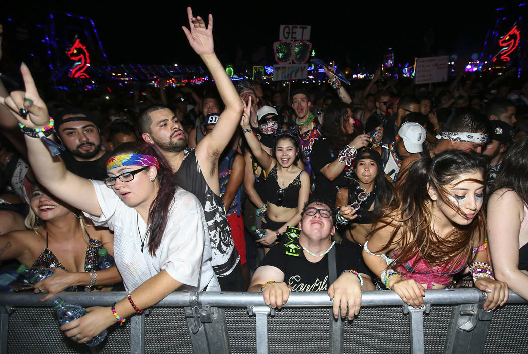 Fans dance as Flosstradamus performs at the Circuit Grounds stage during the last day of the Electric Daisy Carnival at the Las Vegas Motor Speedway on Sunday, June 18, 2017. Chase Stevens Las Veg ...