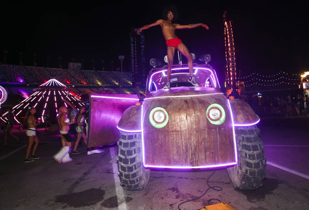 An attendee dances on an art car during the last day of the Electric Daisy Carnival at the Las Vegas Motor Speedway on Monday, June 19, 2017. Chase Stevens Las Vegas Review-Journal @csstevensphoto