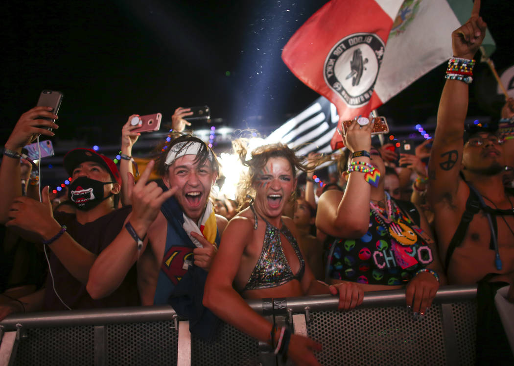 Fans react as Yellow Claw takes the Cosmic Meadow stage during the last day of the Electric Daisy Carnival at the Las Vegas Motor Speedway on Monday, June 19, 2017. Chase Stevens Las Vegas Review- ...