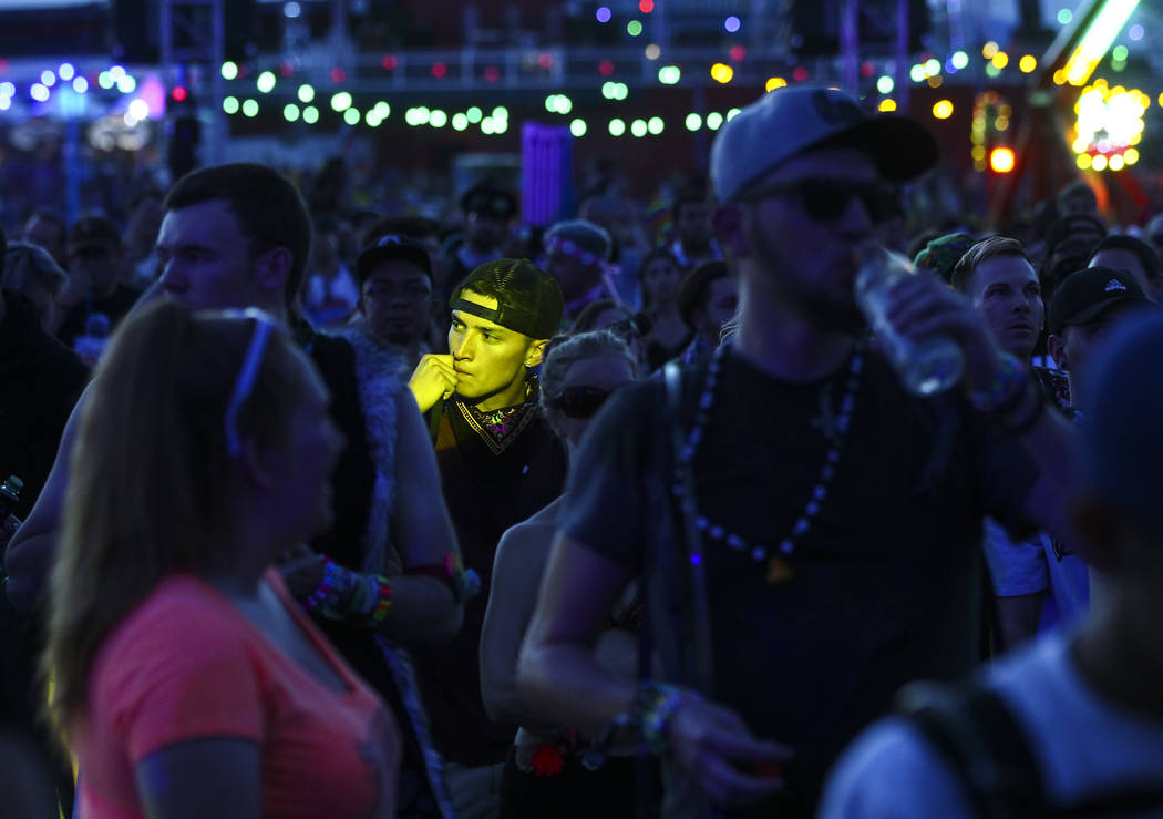 A fan is highlighted at the Cosmic Meadow stage during the last day of the Electric Daisy Carnival at the Las Vegas Motor Speedway on Sunday, June 18, 2017. Chase Stevens Las Vegas Review-Journal  ...