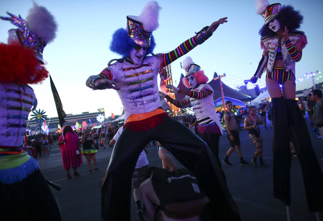 Costumed performers roam the crowd during the first night of the Electric Daisy Carnival at the Las Vegas Motor Speedway on Friday, June 16, 2017. Chase Stevens Las Vegas Review-Journal @csstevens ...