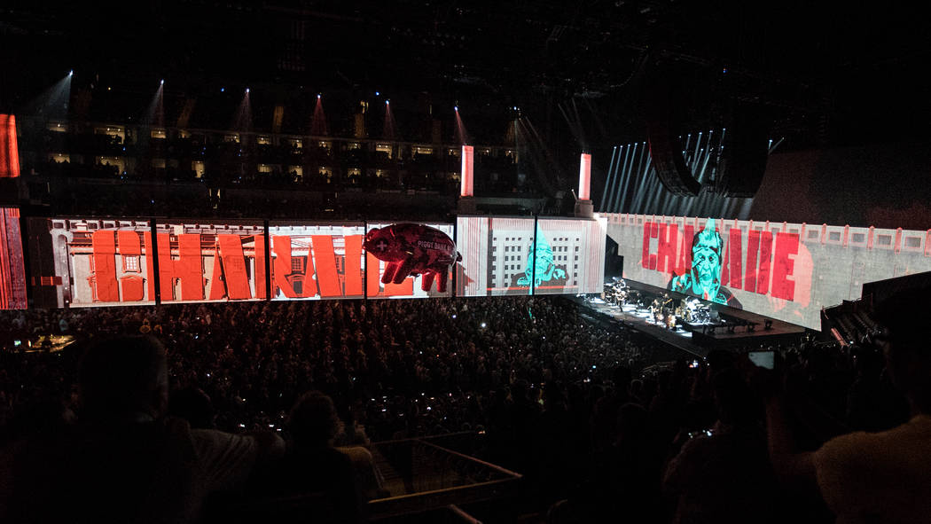"Roger Waters' ""Us + Them"" tour stop Friday at T-Mobile Arena seemed at times to alternate between ""us"" and ""him.""  (Kate Izor)"