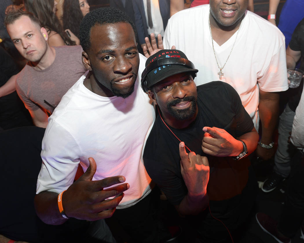 Draymond Green of the Golden State Warriors and DJ Irie celebrate the Warriors' NBA championship at Jewell Nightclub at Aria on Friday, June 16, 2017. (Tony Tran Photography)