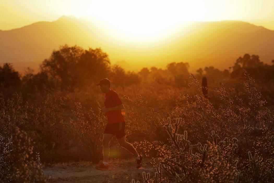 A man runs through the desert at sunrise, Friday, June 16, 2017, in Phoenix. (AP Photo/Matt York)