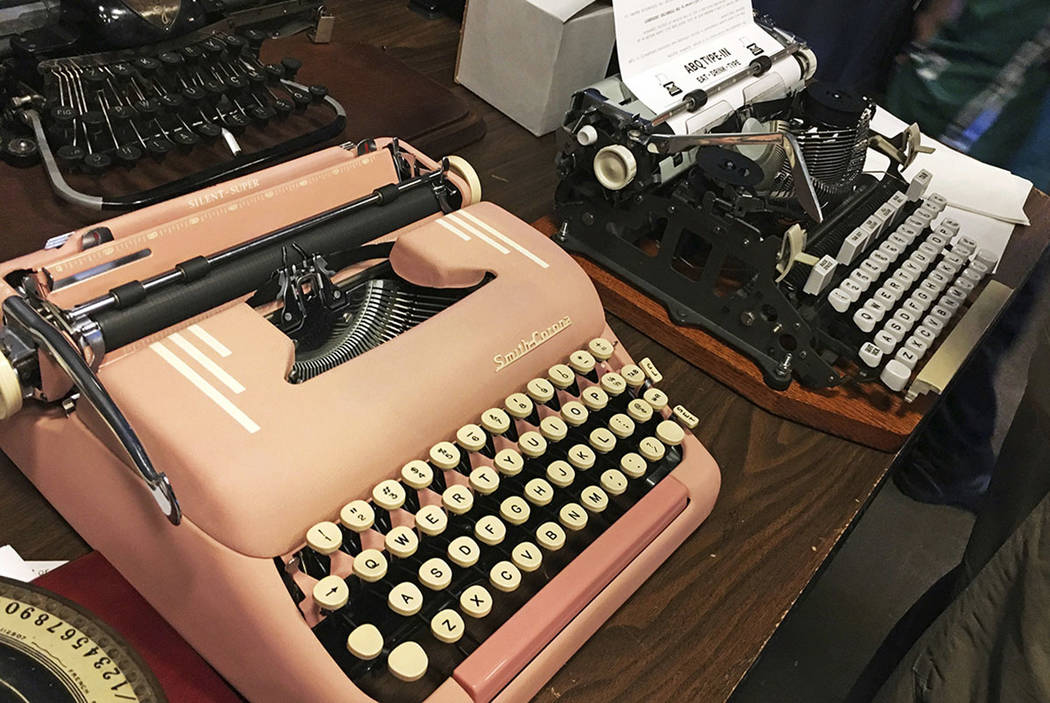 "Vintage typewriters are on display at a ""type-in"" in Albuquerque, N.M., in April. (AP Photo/Russell Contreras)"