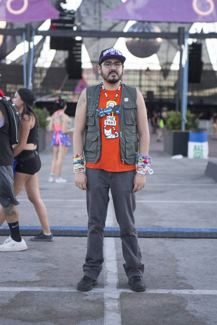 Dustin Pacheco, 24 from Flagstaff, Arizona is pictured on the second night of Electric Daisy Carnival at Las Vegas Motor Speedway on Saturday, June 17, 2017 in Las Vegas. (Bridget Bennett/Las Vega ...