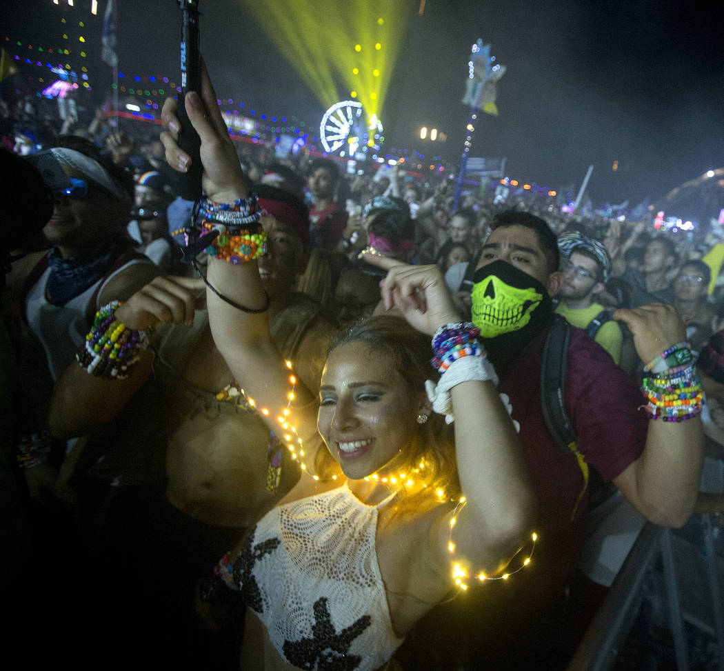 Attendees enjoy Diplo, Jauz and Alison Wonderland's collaborative set at Kinetic Field on the last night of Electric Daisy Carnival at Las Vegas Motor Speedway on Monday, June 19, 2017 in Las Vega ...
