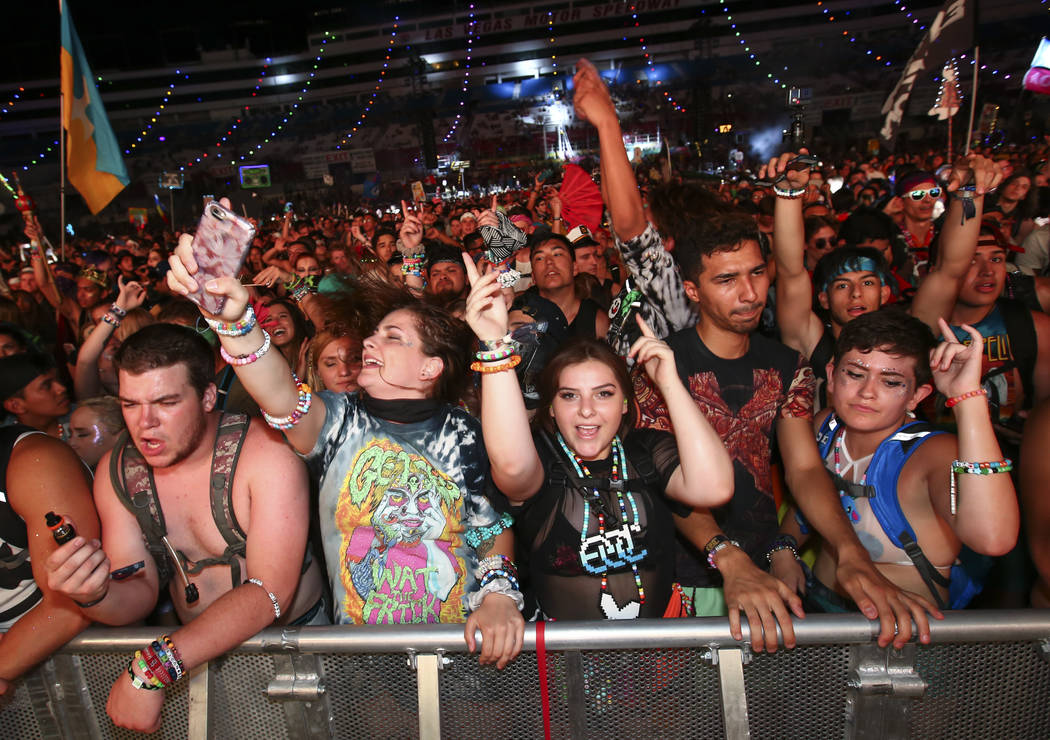 Fans dance to Getter at the Cosmic Meadow stage during the last day of the Electric Daisy Carnival at the Las Vegas Motor Speedway on Sunday, June 18, 2017. Chase Stevens Las Vegas Review-Journal  ...