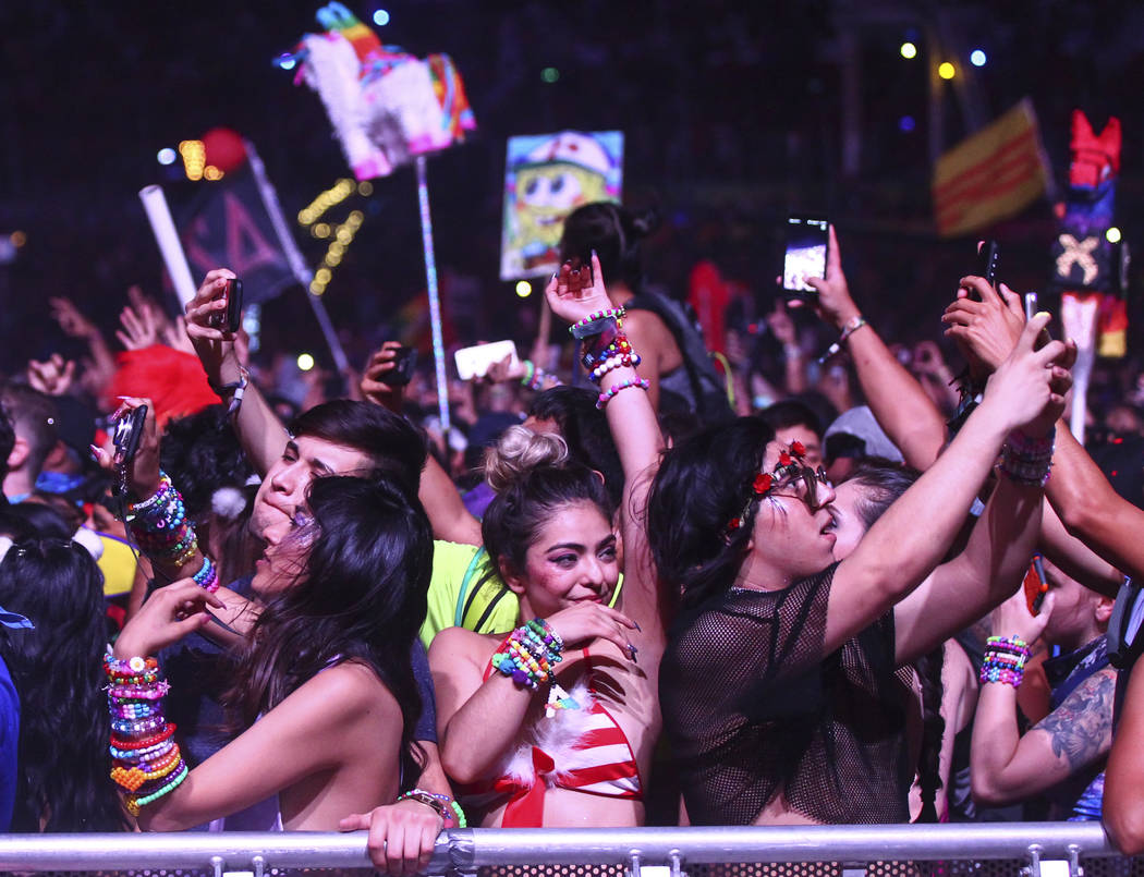 Fans react as Yellow Claw takes the stage at Cosmic Meadow during the last day of the Electric Daisy Carnival at the Las Vegas Motor Speedway on Monday, June 19, 2017. Chase Stevens Las Vegas Revi ...