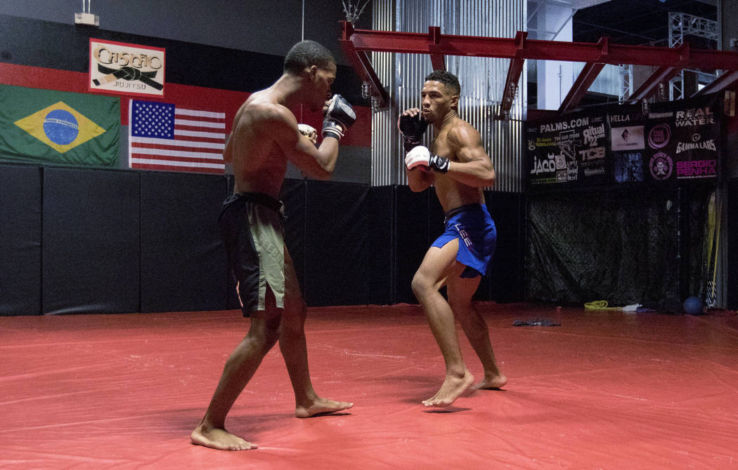 UFC lightweight Kevin Lee, right, trains for his five-round fight at UFC Fight Night 112 with his brother Keith Lee at One Kick's Gym in Las Vegas, Tuesday, June 6, 2017. Heidi Fang /Las Vegas Rev ...