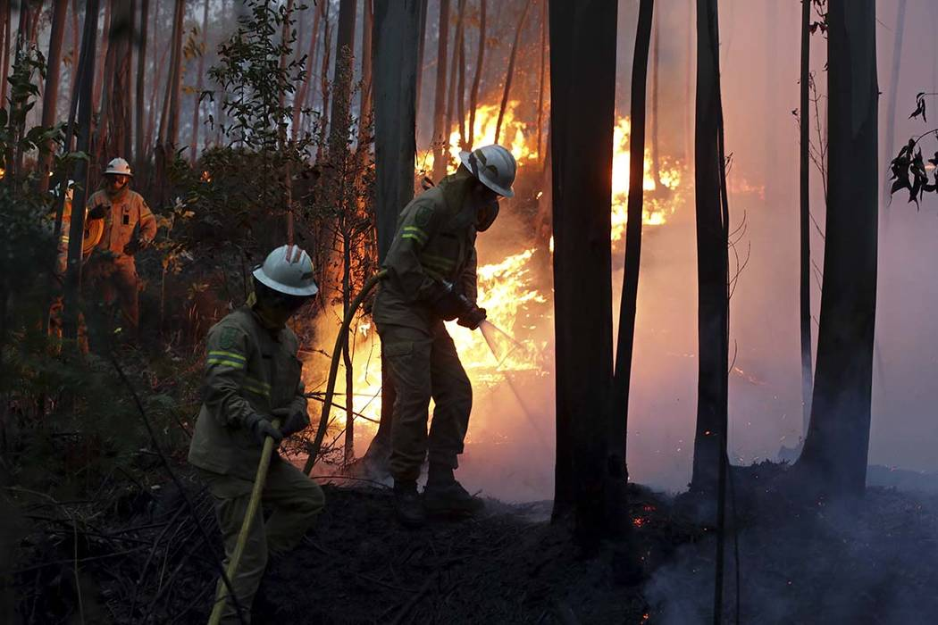 Firefighters of the Portuguese National Republican Guard work to stop a forest fire from reaching the village of Avelar, central Portugal, at sunrise Sunday, June 18 2017. More than 55 people have ...