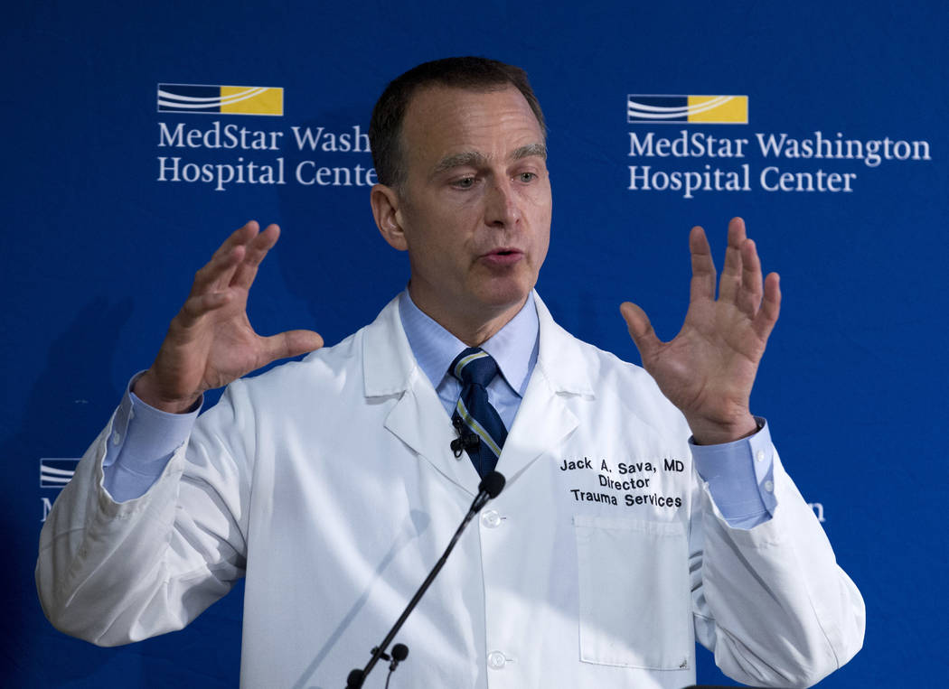 MedStar Washington Hospital Center Director of Trauma Dr. Jack Sava speaks during a news conference in Washington, Friday, June 16, 2017, about the condition of House Majority Whip Steve Scalise o ...