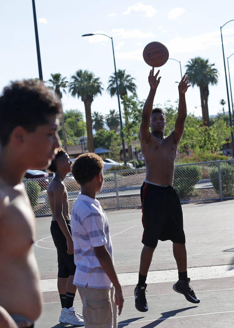 Davion Hambrick, 16, shoots a basket at Lorenzi Park on Sunday, June 18, 2017, in Las Vegas. Rachel Aston Las Vegas Review-Journal @rookie__rae