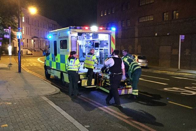 Emergency services are seen near Finsbury Park as British police say there are casualties after reports of a vehicle colliding with pedestrians in North London, Britain June 19, 2017. REUTERS/Ritv ...