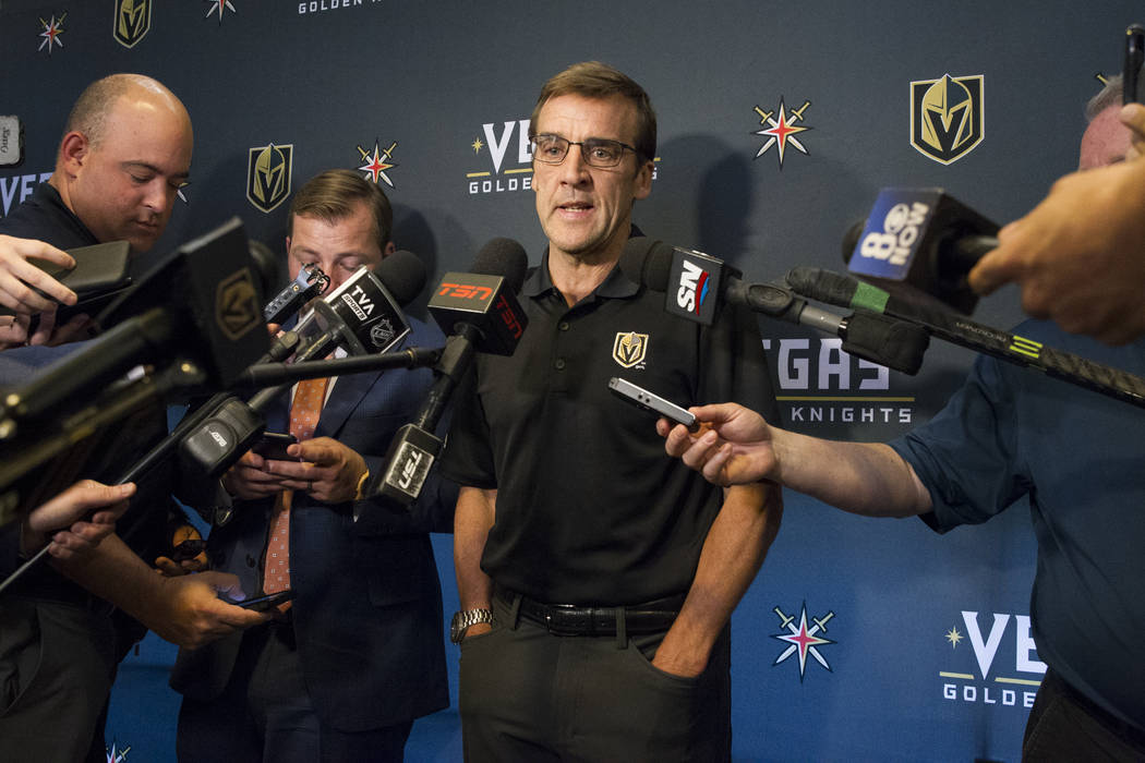 Vegas Golden Knights George McPhee during a press conference at the team's headquarters in Las Vegas on Tuesday, June 20, 2017. Erik Verduzco/Las Vegas Review-Journal