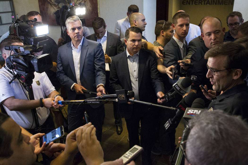 Vegas Golden Knights George McPhee, right, during a press conference at the team's headquarters in Las Vegas on Tuesday, June 20, 2017. Erik Verduzco/Las Vegas Review-Journal