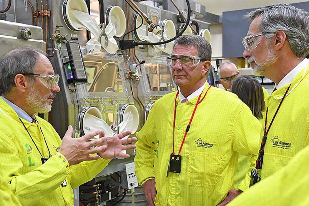 U.S. Secretary of Defense Ash Carter tours the Los Alamos National Laboratory Plutonium Facility 4 in 2016. (Los Alamos National Laboratory)