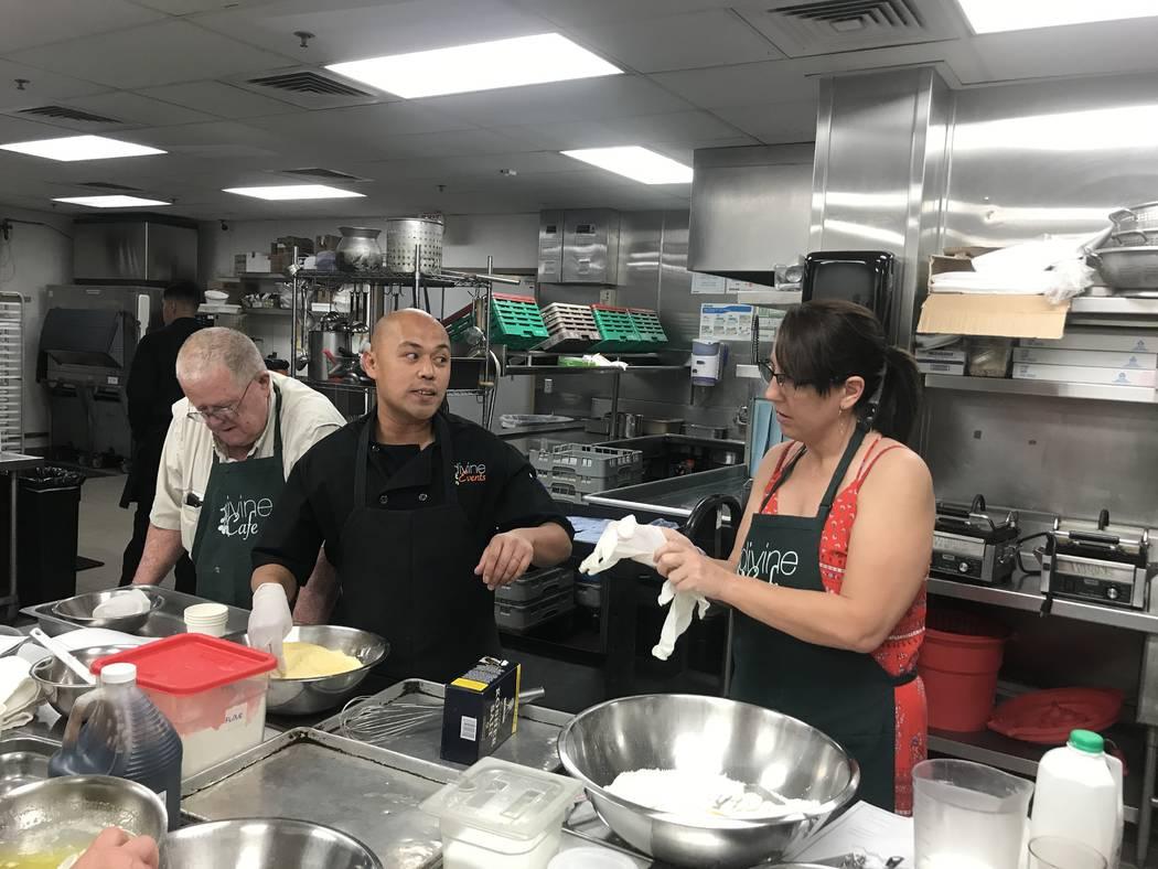 Divine Café chef Matt Dela Rosa offers some instructions to students. Al Mancini Las Vegas Review-Journal