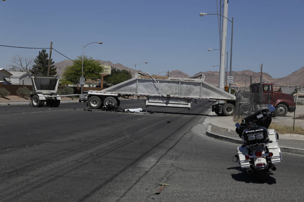 One person is dead after a crash involving a semitruck and a motorcycle at East Carey Avenue and Marion Drive on Friday, June 16, 2017. Gabriella Angott-Jones Las Vegas Review-Journal @gabriellaangojo