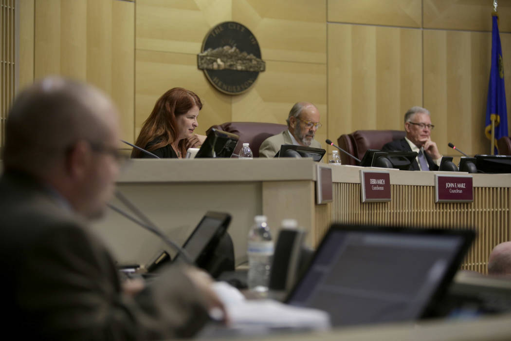 From left: Newly elected Mayor Debra March, City Council Ward III Councilman John Marz, and former Mayor Andy Hafen at Henderson City Hall Council Chambers  in Henderson, Tuesday, June 20, 2017. G ...