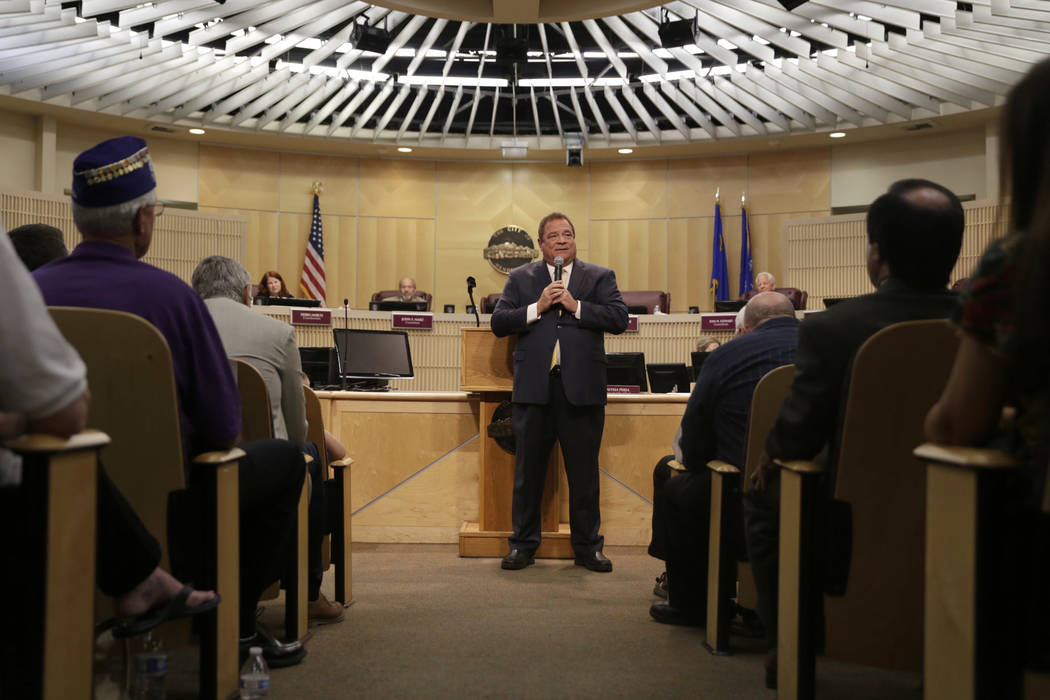 Newly inducted Municipal Court Judge of Department III, Rodney T. Burr, gives an acceptance speech at Henderson City Hall Council Chambers in Henderson, Tuesday, June 20, 2017. Gabriella Angotti-J ...