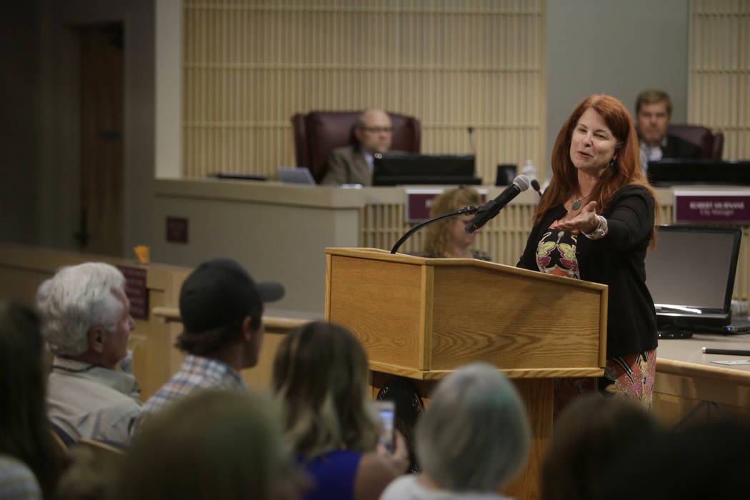 Newly elected Mayor Debra March thanks her family for support after being sworn into her new position at Henderson City Hall Council Chambers in Henderson, Tuesday, June 20, 2017. Gabriella Angott ...