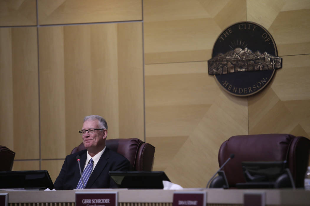 Former Mayor Andy Hafen reacts to kind compliments from newly elected Mayor Debra March at Henderson City Hall Council Chambers in Henderson, Tuesday, June 20, 2017. Gabriella Angotti-Jones Las Ve ...