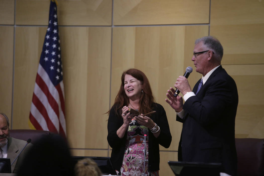 Former Mayor Andy Hafen  gives newly elected Mayor Debra March a gavel as a gift at Henderson City Hall Council Chambers in Henderson, Tuesday, June 20, 2017. Gabriella Angotti-Jones Las Vegas Rev ...