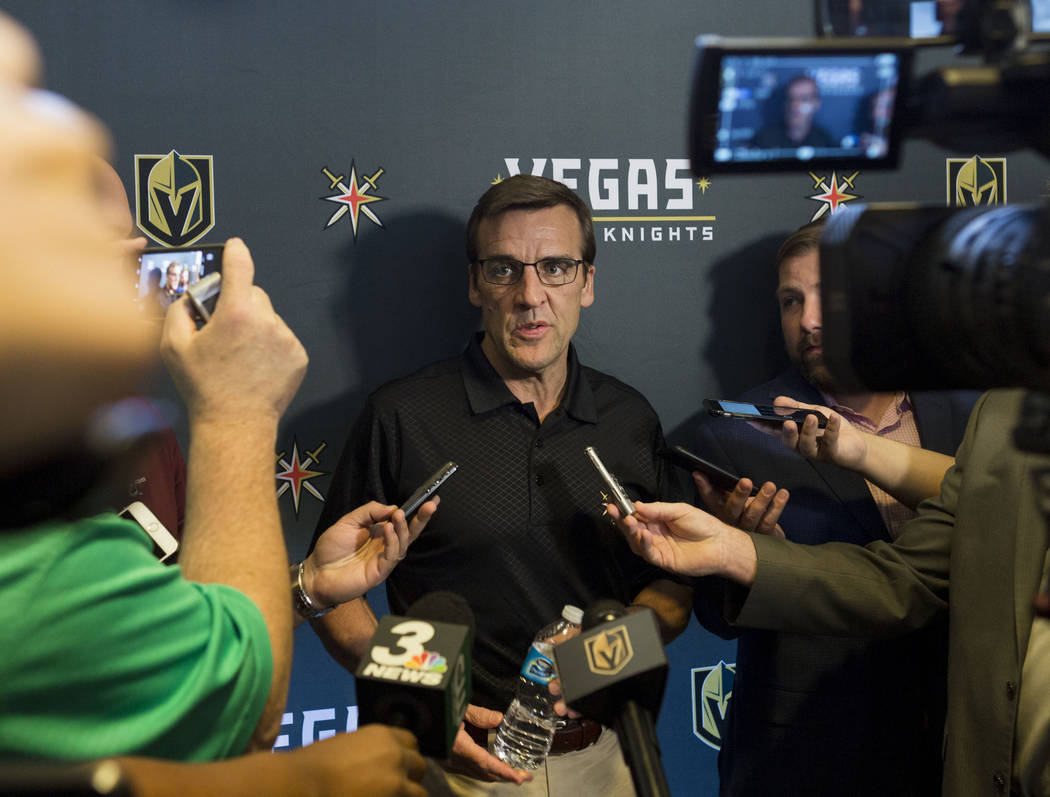 Vegas Golden Knights General Manager George McPhee gives a media briefing at the team's main office in Las Vegas, Monday, June 19, 2017. Elizabeth Brumley/ The Las Vegas Review-Journal
