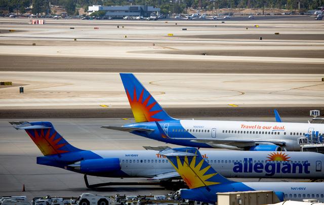 Allegiant Airlines planes sit on the tarmac at McCarran International Airport on Tuesday, Oct. 25, 2016.  Jeff Scheid/Las Vegas Review-Journal Follow @jlscheid