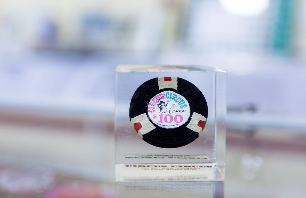 A first issue Circus Circus Ring Master 1968 series chip at   the 25th annual Casino Collectibles Convention at South Point hotel-casino  in Las Vegas, Thursday June 22, 2017. Elizabeth Brumley La ...