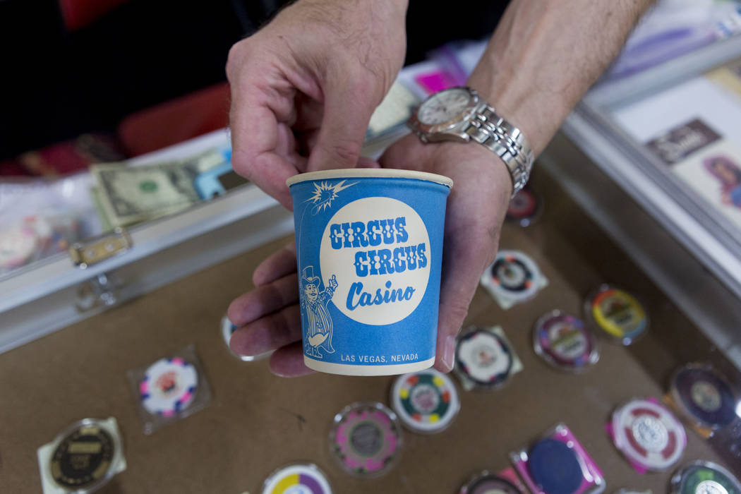 A vintage chip collector cup during the 25th annual Casino Collectibles Convention at South Point hotel-casino  in Las Vegas, Thursday June 22, 2017. Elizabeth Brumley Las Vegas Review-Journal