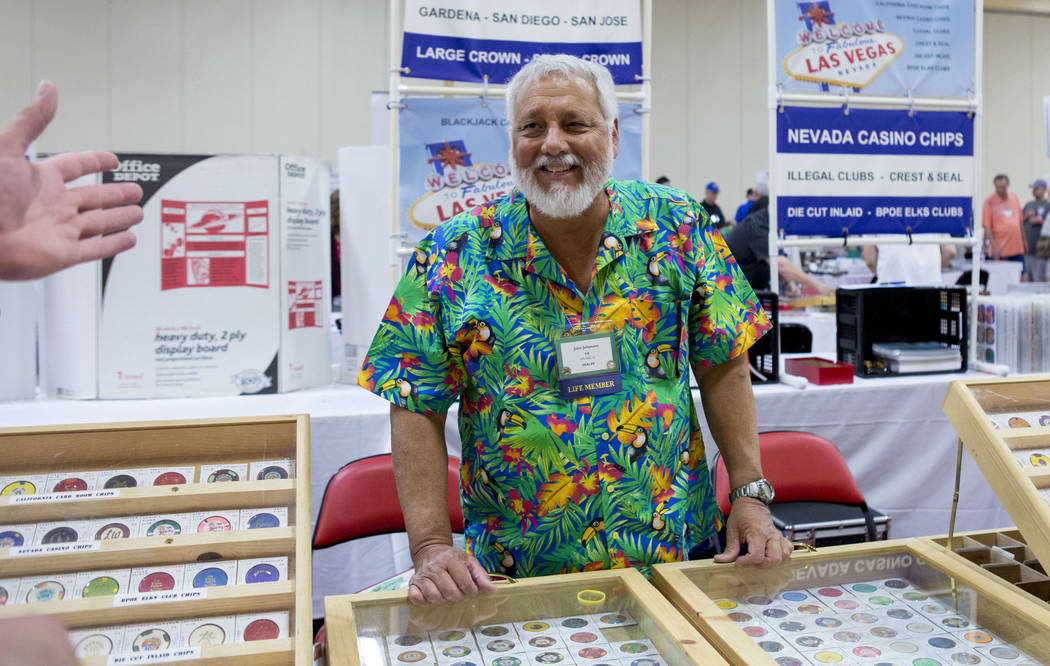 Chip dealer John Johannes  talks during the 25th annual Casino Collectibles Convention at South Point hotel-casino  in Las Vegas, Thursday June 22, 2017. Elizabeth Brumley Las Vegas Review-Journal