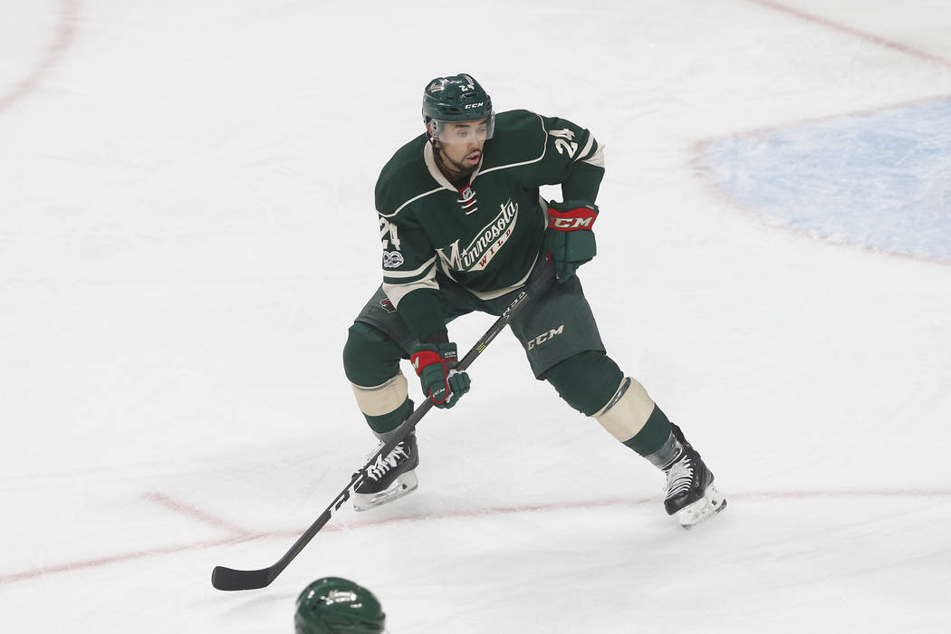 Minnesota Wild's Matt Dumba plays during the first period of an NHL hockey game against the New York Rangers Saturday, March 18, 2017, in St. Paul, Minn. (AP Photo/Jim Mone)