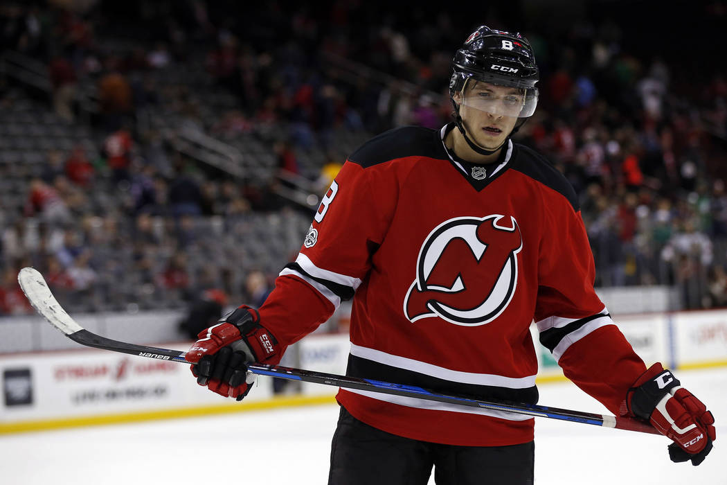 New Jersey Devils right wing Beau Bennett (8) reacts as he skates off the ice after losing to the Columbus Blue Jackets 4-1 in an NHL hockey game, Sunday, March 19, 2017, in Newark, N.J. (AP Photo ...