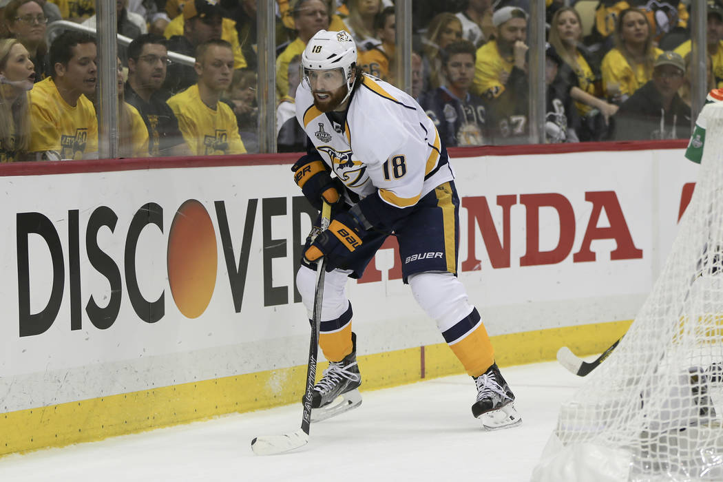 Nashville Predators' James Neal (18) plays against the Pittsburgh Penguins during game 2 of the NHL Stanley Cup Finals hockey game, Wednesday, May 31, 2017, in Pittsburgh. (AP Photo/Keith Srakocic)