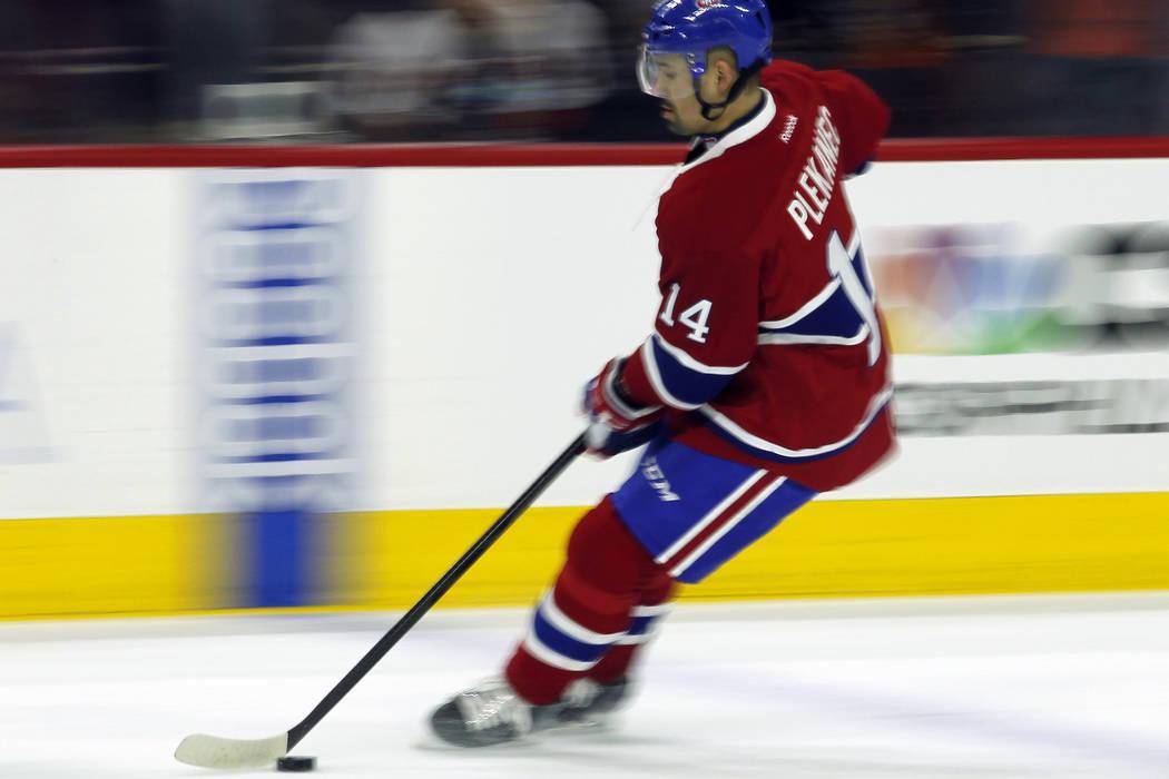 Montreal Canadiens' Tomas Plekanec  before the start of an NHL hockey game, Thursday, Feb. 2, 2017 in Philadelphia. (AP Photo/Tom Mihalek)