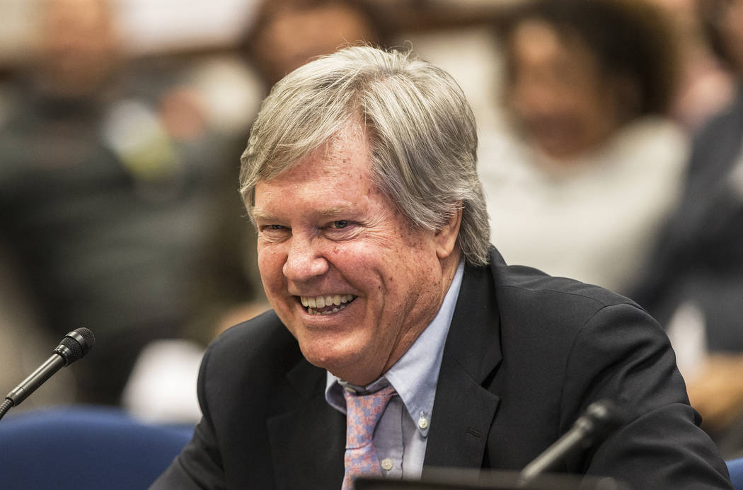 In this Feb. 8, 2017 file photo, Sen. Tick Segerblom, D-Las Vegas, shares a laugh with members of the Senate Government Affairs Committee during a meeting to discuss a resolution to replace Columb ...