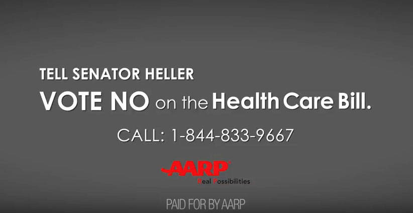 AARP Calls on Sen Heller to Vote No on Age Tax for Nevadans.  Image from YouTube