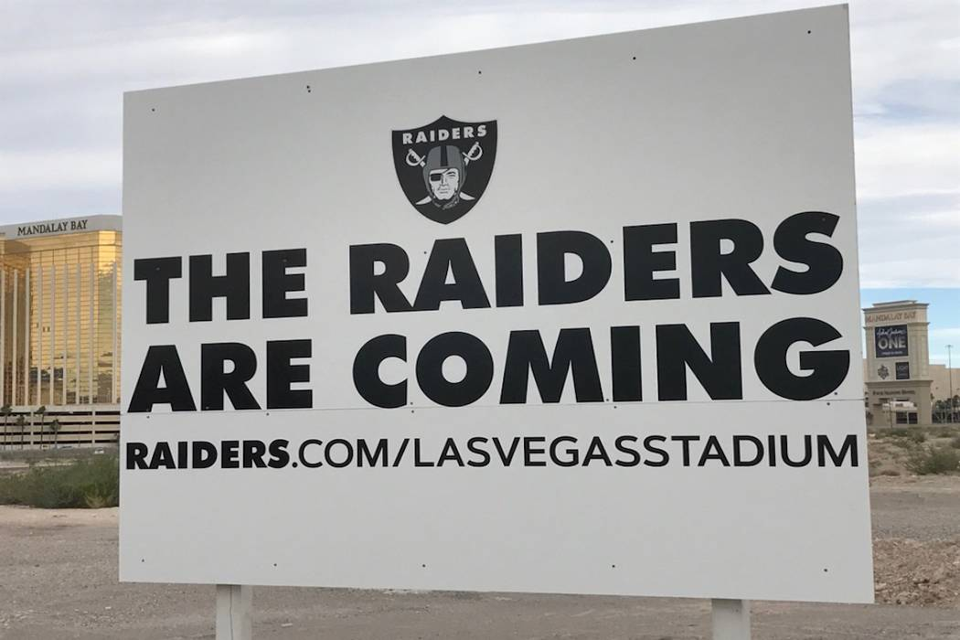 "The ""Raiders Are Coming"" sign that was stolen from the team's proposed stadium site in Las Vegas. (Steve Sisolak/Twitter)"